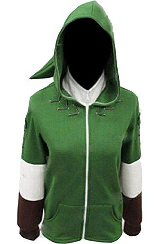 Ya-cos The Legend of Zelda Link Hooded Hyrule Warriors Zipper Coat Jacket Green (Green, Large)