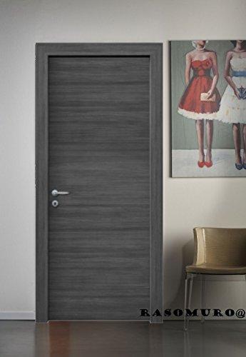 Porte interne Rovere Grigio finitura laminato graffiato effetto spazzolato - compreso telaio e mostrine (80x210 Destra)