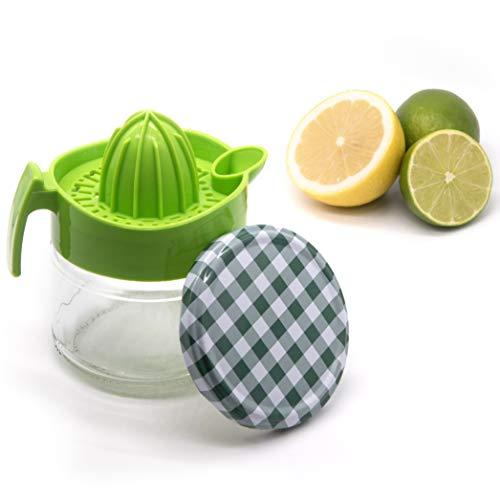 SYMPAA Zitronenpresse mit Glasbehälter 220 ml, hochwertige Zitruspresse inklusive praktischem Schraubverschluss zur nachhaltigen Aufbewahrung