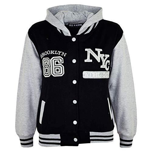 A2Z 4 Kids® Unisex Jungen Mädchen Baseball NY Athletic - NY Jacket Black 11-12