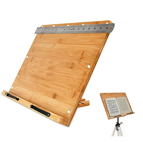 XLarge 16quot x 12quot A3 Natural Bamboo Laptop/Book/Music Stand Tray w Magnet Inserts Stainless Steel Ruler amp 6Level 360° Rear Rack 1/4quot Screw Hole Foldable Desk Art Easel NUStand Tripod Not Included