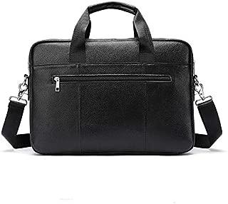 Men's Genuine Leather Bag Leisure Business Briefcase Cross Section Shoulder Messenger Bag Male Laptop Bag (Color : Black)