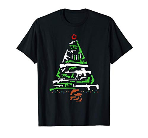 Rifle Weapon Gun Christmas Tree for Weapon Fools & Patriots T-Shirt