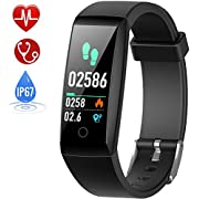 HETP Fitness Trackers with Blood Pressure & Heart Rate Monitor Smart Watches Fitness Wristband Waterproof IP67 Activity Tracker with Stopwatch GPS Pedometer Smart Bracelet for Women Men