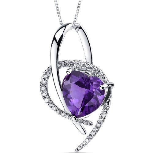 Amethyst Diamond Pendant 14Kt White Gold Heart Shape 3.3 Carats
