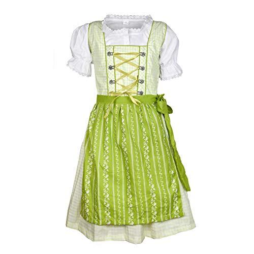 MS-Trachten Kinder Dirndl Trachtenkleid Klara 3 teilig (hellgrünkariert, 116)