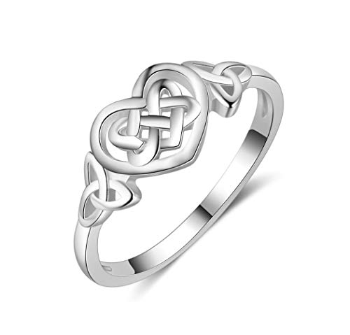 MiniJewelry Celtic Knot Heart Ring for Women Sterling Silver Ring for Girls Eternity Wedding Band Stackable Promise Engagement Ring, Size 6