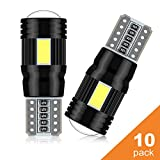 LED Luces posición, POMILE 10 PCS LED T10 W5W Canbus Coche Bombillas 6000K 12V, Luces Interiores, Luces Laterales, Luces De Matrícula, Luces De TableroD Luces posición (Blanco, 10PC-T10)…