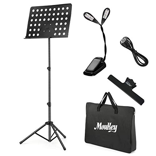 "Moukey Sheet Music Stand Portable, Folding Travel Metal Music Stand MMS-2 With Carrying Bag, LED Light, Music Clip Holder, Adjusted from 23"" to 62"", Black"