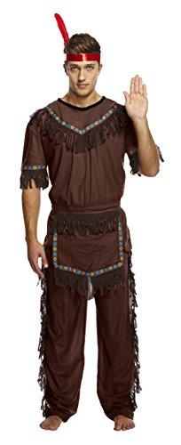 ostume d'amérindien/chef indien/cowboy - homme - marron - Taille Unique