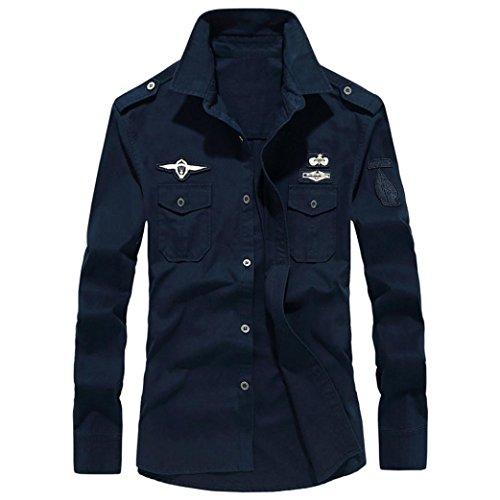 Camicetta Superiore da Uomo a Maniche Lunghe con Bottoni Collo Alto, Stile Militare Casual Camicia in Cotone Risvolto T-Shirt Uomo Maglietta Maglia Maniche Lunghe Moda(Navy,6XL)