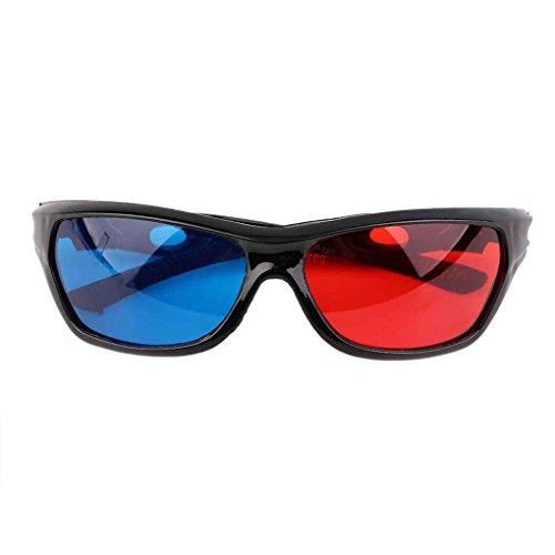 Busirde Black Frame Rosso Blu Occhiali 3D per anaglifi Dimensional Movie Game DVD Eyewear