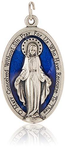 AMZ Beads–XL grande azul esmalte Milagrosa Mary medalla medallas de 1,75'anillos incluido