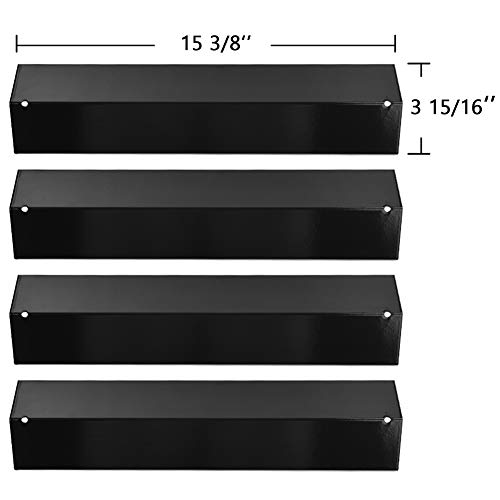 SHINESTAR Grill Replacement Parts for Brinkmann 810-3660-S, 810-2512-S, 810-8411-5, Pro Series 8300, Heat Plates Tent Shields for Uniflame, 4-Pack 15 3/8 inch Porcelain Steel Flame Tamers (SS-HP005)
