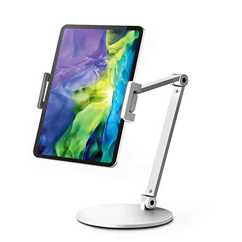 QinCoon Soporte Tablet, Soporte Ajustable de Aluminio de Alta Resistencia con Brazos de 2 Niveles, Stand de Multiángulo Adecuado para iPad, Samsung Tab, Kindle (4,7-13') (Blanco)