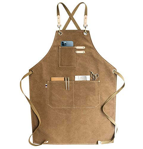 carrotez Chef Apron Waterdrop Resistant Cotton Canvas Cross Back Adjustable Apron MXXL