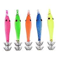 シリコーン素材 5 ピース フィッシュ フック発光デザイン 5 ピース イカ フック、淡水釣り用