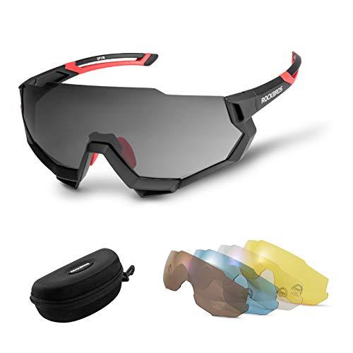 ROCKBROS Polarisierte Fahrradbrille Halbrahmen Ultraleicht Sportbrille UV-Schutz Sonnenbrille mit 5 Wechselgläser für Outdooraktivitäten wie Radfahren Skifahren Angeln Golf 3 Farben
