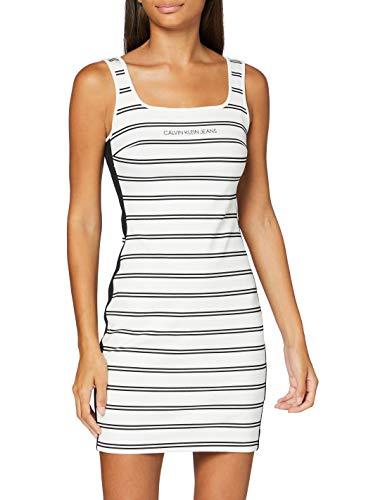 Calvin Klein Jeans Damen Stripe Milano Dress Kleid, Weiß, M