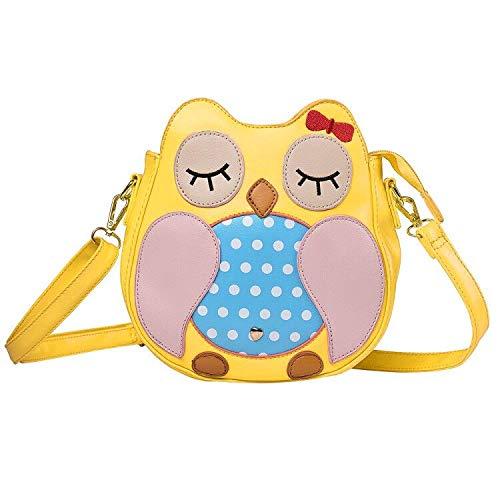 Kids Owl Faux Leather Shoulder Bag for Little Girls Toddlers Crossbody Handbag Purses - Yellow