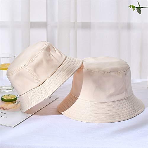 WAZHX Nuevo Unisex Algodón Sombreros De Cubo Mujer Verano Protector Solar Sombrero De Panamá Hombres Color Puro Sunbonnet Sombreros Sombrero De Pescador Al Aire Libre Gorra De Playa Niño (54 Cm) Beige