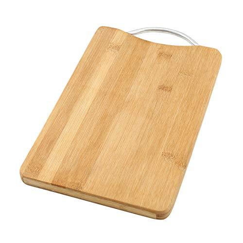 Tabla de cortar de bambú gruesa para cocina con asas, resistente para bandeja de servir frutas, verduras y carnes