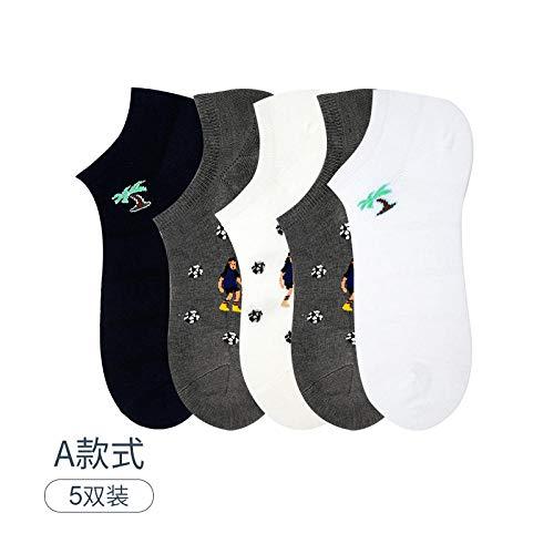 Sneaker sokken zomer dunne mode voor hulp deodorant onzichtbare platte mond mannen korte buizen katoenen sokken stijl A 5 paar (5 kleuren) zomer dunne mode voor hulp deodorant onzichtbare platte maan