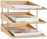 Bandeja Documentos COMPARTAMENTOS DE ALMACENAMIENTO DEL ORGANIZADOR DE DOCUMENTO 3 x Almacenamiento de documentos Apilable DIN A4 Mesa de escritorio de oficina de oficina Hecho de madera de bamb煤 natu