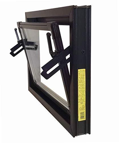 ACO 80cm Nebenraumfenster Kippfenster Isoglas braun Fenster Isofenster Kellerfenster, Größe Kippfenster:80 x 40 cm