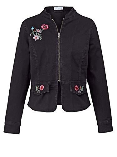 Angel of Style Damen Jeansjacke mit Blumen-Stickerei Schwarz 50 Baumwolle
