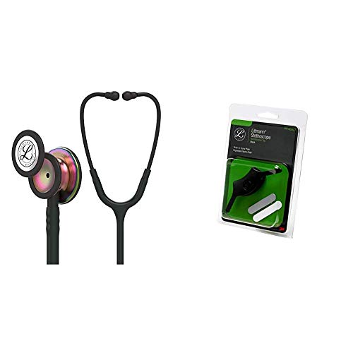 3M Littmann Classic III Monitoring Stethoscope, Rainbow-Finish Chestpiece, Black stem and Headset, Black Tube, 27 inch, 5870 + 40007 Stethoscope Identification Tag, Black
