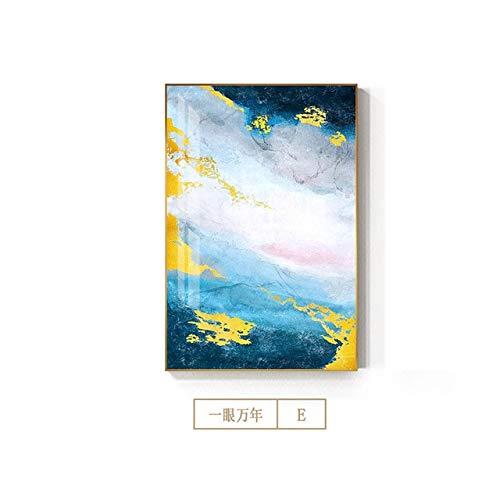 Abstrakte bunte Marmorbilder Goldgelbes Plakat Leinwandgemälde Wandkunst im nordischen Stil für Wohnzimmer Moderne Wohnkultur E 50x70 cm Kein Rahmen