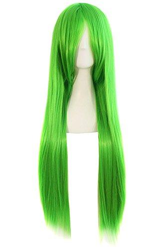 MapofBeauty 80cm/ 31 Pouce Longue Droit Femmes Droit Perruques (Vert)