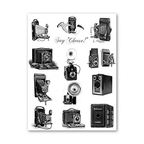 ZHINING Fotoliebhaber antike Kamera Leinwand Poster und Drucke Ölgemälde Wandbilder HD-Druck Wohnzimmer Wohnkultur