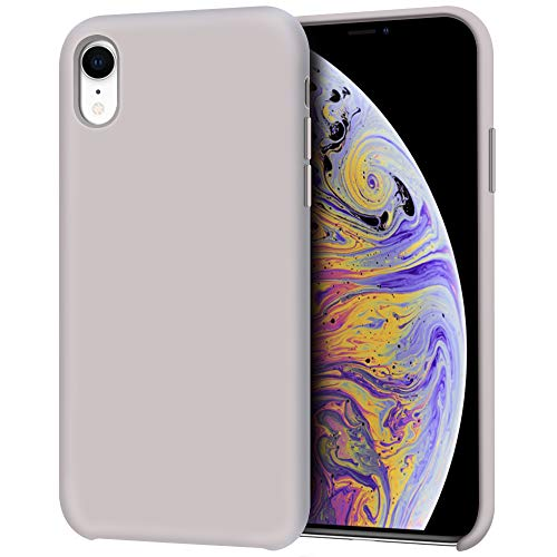 Anuck Case for iPhone XR Case 6.1 inch, Anti-Slip Liquid Silicone Gel Rubber Bumper Case with Soft Microfiber Lining Cushion Slim Hard Shell Shockproof Protective Case Cover - Lavender Gray
