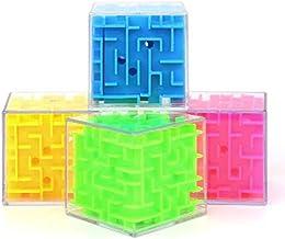 Cubo Labirinto 3D Color + Quebra Cabeça de Metal - 6cm