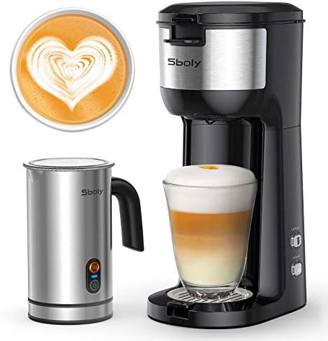 Sboly Single Serve Coffee Maker Milk Frother Coffee Brewer for K Cup and Ground Coffee Cappuccino product image