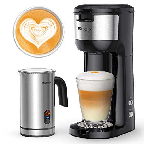 Sboly Single Serve Coffee Maker & Milk Frother, Coffee Brewer for K-Cup and Ground Coffee, Cappuccino Machine and Latte Maker Bundle