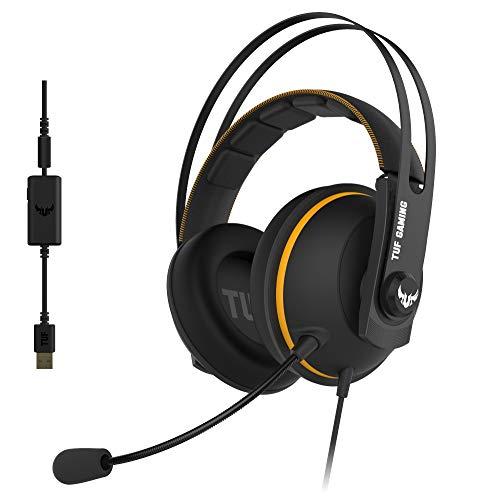 ASUS TUF Gaming H7 Cuffie gioco per PC, PS4, Nintedo Swicth, XBOX One, Audio virtuale 7.1 integrato, cuscinetti confortevoli, colore Giallo.