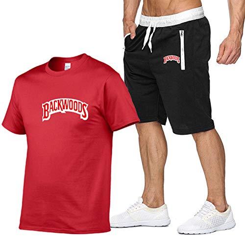 GIRLXV Camiseta Backwoods con Letras De Algodón Puro para Hombre Camiseta De Manga Corta Camiseta De Manga Corta Gimnasio Entrenamiento Traje Deportivo M