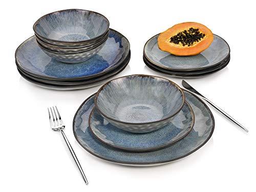 Sänger Geschirrservice Amalfi aus Porzellan 12 teiliges Set-Für 4 Personenin Blau-Vintage, Design, Porzellan