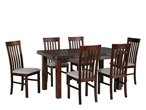 Mirjan24 Esstisch mit 6 Stühlen DM42, Sitzgruppe, Küchentisch, Esstischgruppe, Esszimmer Set, Esstisch Stuhlset, Esszimmergarnitur, DMXZ (Nuss/Nuss Inari 23)