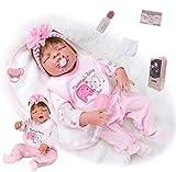 ZIYIUI 23-inch 57cm Real Lifelike Reborn Baby Dolls Full Body Silicone Baby Reborn Girl Baby RebornS That Look Realistic Toddler Girl reborn dolls Birthday Gift Toys Reborn dolls