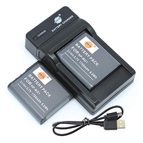 DSTE NP-BG1 - Batería y cargador para cámara Sony Cyber-Shot DSC-T20 DSC-T100 DSC-W30 DSC-W50 DSC-W55 DSC-W70 DSC-W120 DSC-W130 (2 unidades)