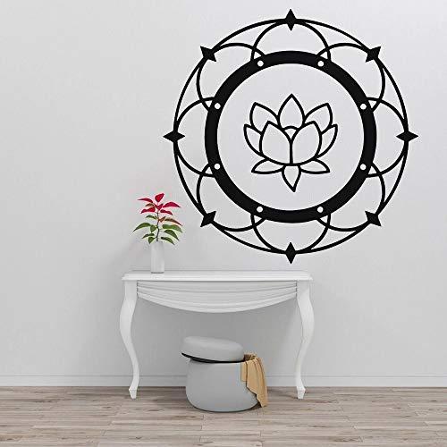 HGFDHG Lotus Wall Mandala Yoga Budista meditación Vinilo Sala de Estar Interior Ventana Pegatinas de Pared decoración del hogar