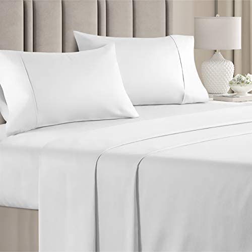 100 Cotton Queen Sheets White 4pc Silky Smooth Cooling 400 Thread Count Long Staple Combed Cotton product image