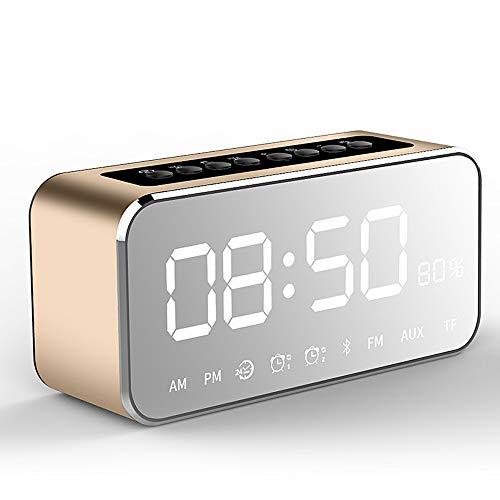 HCCX Reloj despertador portátil con superficie de espejo inalámbrico, Bluetooth, mini radio FM, reproductor de música, altavoz de soporte de tarjeta TF, dorado