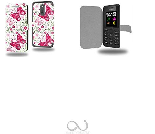 Papillon Rose et Vert Collection Pattern Custodia Pelle Ultra Slim per Nokia 130 smartphone - Flip Case Funda Cover protettiva Nokia 130 PU Pelle - CASE Industry accessori