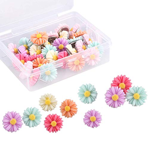 30 Pieces Flower Pushpins Flower Thumb Tacks Decorative Floret Push Pins Colorful Floret Thumbtacks for Photo Wall, Feature Wall, Whiteboard, Cork Board, Map, Bulletin Board, Office or Home