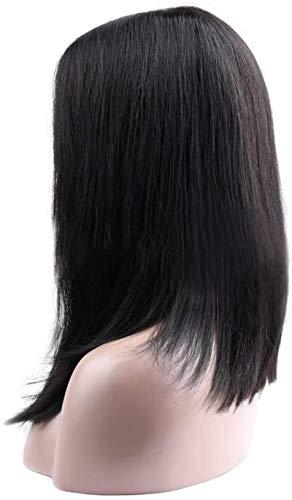 Peluca Pelucas Forme las pelucas humanas rectas sedosas brasileñas para las mujeres Partido Ayudas RESS CORTE CORTE BOB WIG Peluca delantera de encaje Durable (Color: Negro, Tamaño: 12 pulgadas) para